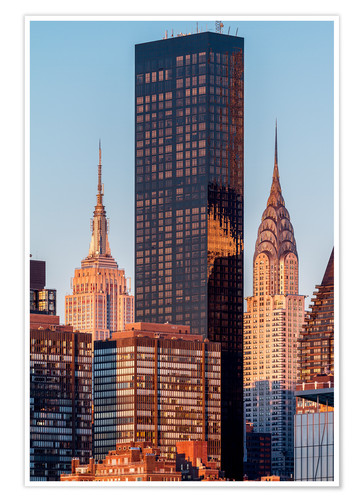 Póster Empire State und Chrysler Building