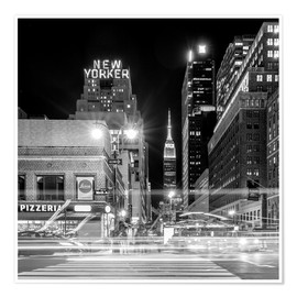 Póster Ninth Ave, New Yorker * Empire State Building (monochrome)