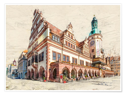 Póster Leipzig Old Town Hall
