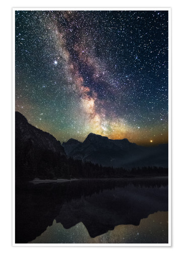 Póster Milky Way over the mountains