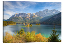 Lienzo  Autumn at the Eibsee with a view to the Zugspitze - Michael Valjak