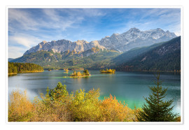 Póster  Autumn at the Eibsee with a view to the Zugspitze - Michael Valjak
