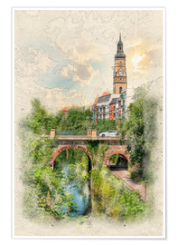 Póster Leipzig, Karl Heine Canal, King Albert Bridge