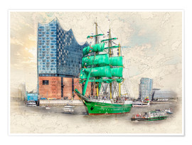 Póster  Hamburg Elbphilharmonie with the sailing ship Alexander von Humboldt - Peter Roder