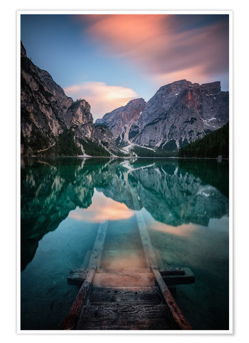 Póster Lago di Braies just before sunset