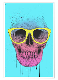 Póster Pop art skull with glasses