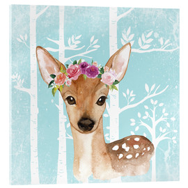 Metacrilato  Glamorous fawn with blossoms in the blue forest - UtArt