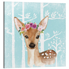 Cuadro de aluminio  Glamorous fawn with blossoms in the blue forest - UtArt