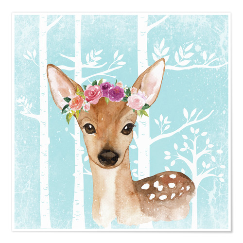Póster Glamorous fawn with blossoms in the blue forest