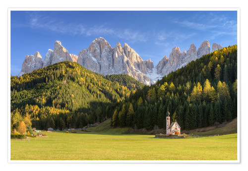 Póster Church in Val di Funes in South Tyrol