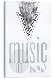 Lienzo  GRAPHIC ART SILVER Music on World Off - Melanie Viola