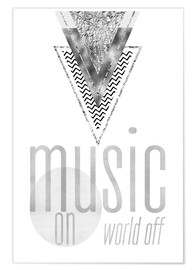 Póster  GRAPHIC ART SILVER Music on World Off - Melanie Viola