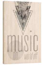 Madera  GRAPHIC ART SILVER Music on World Off - Melanie Viola