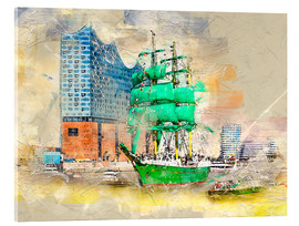 Cuadro de metacrilato  Hamburg Elbphilharmonie with the sailing ship Alexander von Humboldt - Peter Roder