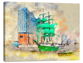 Lienzo  Hamburg Elbphilharmonie with the sailing ship Alexander von Humboldt - Peter Roder