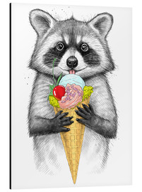 Aluminio-Dibond  Raccoon with ice cream - Nikita Korenkov