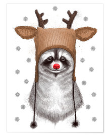 Póster  Raccoon in Deer Hat - Nikita Korenkov