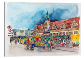 Cuadro de aluminio  Leipzig Weekly market in front of the Old Town Hall - Hartmut Buse