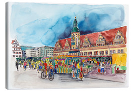 Lienzo  Leipzig Weekly market in front of the Old Town Hall - Hartmut Buse