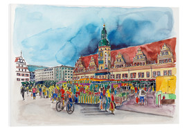 Cuadro de PVC  Leipzig Weekly market in front of the Old Town Hall - Hartmut Buse