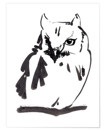 Póster  Owl black ink drawing - Verbrugge Watercolor