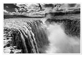 Póster Dettifoss on Iceland (monochrome)
