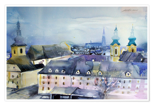 Póster Linz, view to Dom