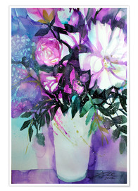 Póster White peonies with lilac
