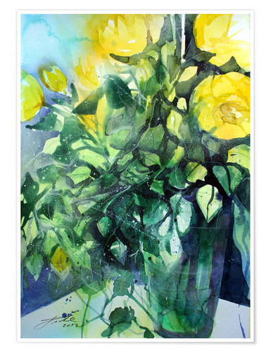 Póster Yellow roses with ivy in vase