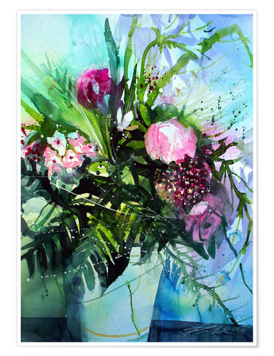 Póster Bouquet with peony