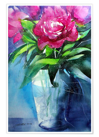 Póster Red peonies in vase