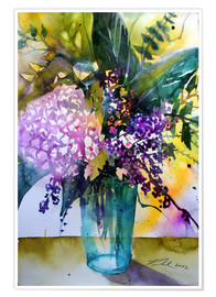 Póster Bouquet with hydrangea