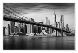 Póster New York City - Brooklyn Bridge and Skyline