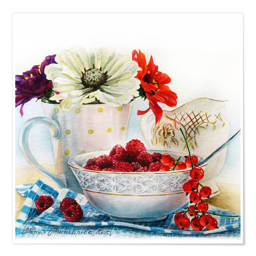 Póster Flowers and berries watercolor painting