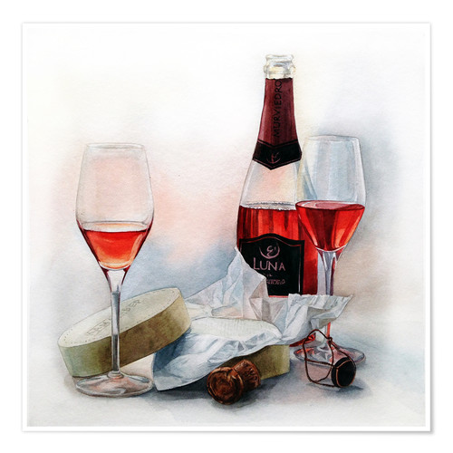 Póster Wine and cheese watercolor painting