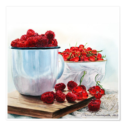 Póster Red berries watercolor painting