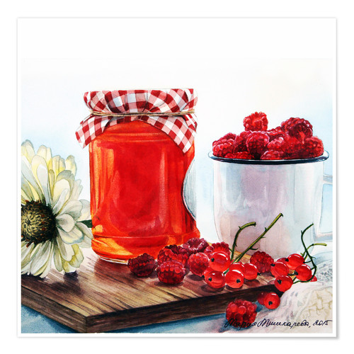 Póster Raspberry jam watercolor painting