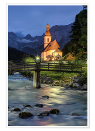 Póster Church in Ramsau near Berchtesgaden in the evening