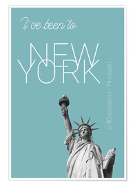 Póster  Popart New York Statue of Liberty I have been to Color: Light blue - campus graphics