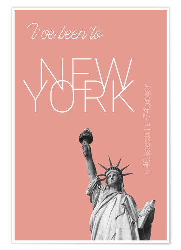 Póster Popart New York Statue of Liberty I have been to Color: blooming dahlia