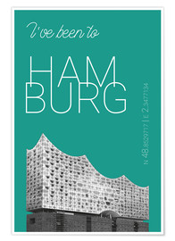 Póster Popart Hamburg Elbphilharmonie I have been to Color: Arcadia
