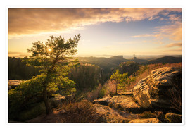 Póster Saxony Switzerland - Sunset (Carolafelsen)