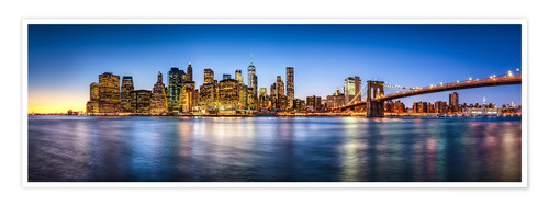 Póster New York City skyline panorama at night