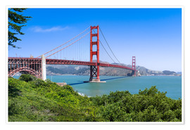 Póster Golden Gate Bridge in San Francisco, California, USA