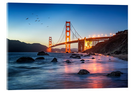 Cuadro de metacrilato  Golden Gate Bridge at sunset in San Francisco, USA - Jan Christopher Becke
