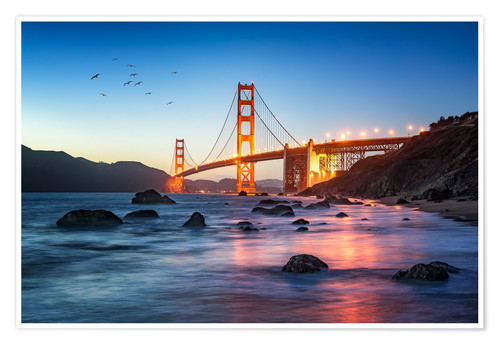 Póster Golden Gate Bridge at sunset in San Francisco, USA