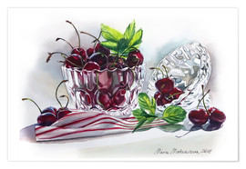 Póster Watercolor Cherry bowl