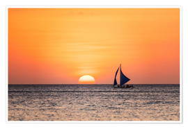 Póster Sailboat in the sunset