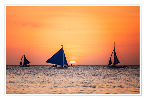 Póster Sailboats in the sunset