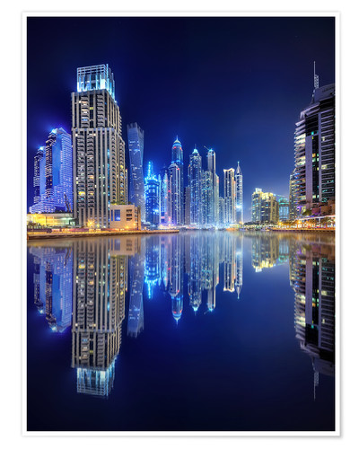 Póster Dark blue night - Dubai Marina bay